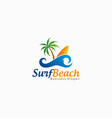 beach surf logo template vector image