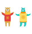bears wearing sweaters on vector image vector image