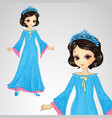 Beauty Princess In Blue Dress vector image vector image