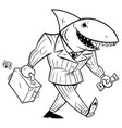 business shark line art vector image vector image