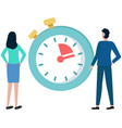 businessman stands and looks at stopwatch woman vector image vector image