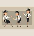 cartoon flat british policeman girl character set vector image