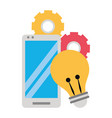 cellphone with light bulb and gears vector image vector image