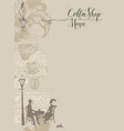 coffee shop menu with a couple in love vector image vector image