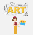 creative artist with art icons on white background vector image