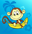 Cute monkey with banana on abstract background