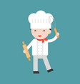 cute pastry chef with egg whisk and rolling pin vector image vector image