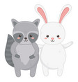 cute rabbit and raccoon waving hand vector image