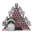 cute raccoon with indian tent bohemian style vector image