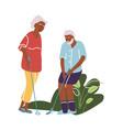elderly man and woman play golf cartoon old vector image