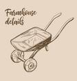 farmhouse details art rural cart drawing vector image vector image