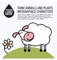 Flat design icons with farm animal - sheep vector image vector image