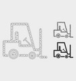 fork lift truck mesh 2d model and triangle vector image vector image