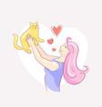 girl raised golden cat above her head vector image