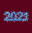 glowing festive garland text blue numbers 2021 vector image