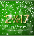 golden new year 2017 concept on green snow blurry vector image vector image