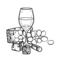 graphic glass of wine decorated with cheese vector image