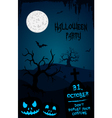 Halloween party flyer template - blue and black vector image vector image