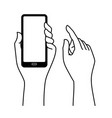 hand carrying mobile phone vector image
