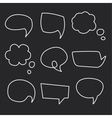 Hand drawn speech bubbles chalk on blackboard vector image vector image