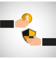 hands holds shiel protection coin vector image