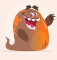 happy cartoon orange blob monster vector image vector image