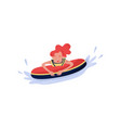happy young woman floating on inflatable ring vector image