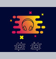 headphones line icon music listening sign vector image vector image
