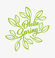 hello spring green stylized inscription on a white vector image vector image