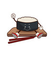 kawaii sushi oriental food wooden plate chop vector image