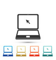 laptop with cursor icon on white background vector image vector image