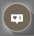 like and comment sign white icon on brown vector image vector image