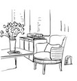 modern interior room sketch table chair flowers vector image vector image