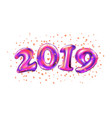 new year 2019 celebration purple foil balloons vector image vector image