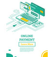 online outline payment with laptop computer vector image