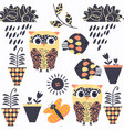 owls nature animals seamless pattern it is vector image vector image