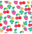 pattern with strawberries and cherries vector image vector image