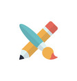 pencil and paint brush flat icon on white vector image