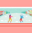 people playing snowballs vector image vector image