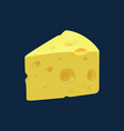piece swiss cheese cut triangle isolated icon vector image