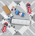 road accident bus and truck vector image vector image