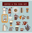 set of flat tea and coffee icons vector image vector image