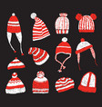 set of knitted winter caps vector image