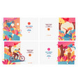 set of pastel bright banners with sport girls vector image
