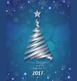 Silver ribbon make Christmas tree shape vector image vector image