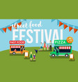 street food festival flyer vector image vector image