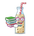 student with book sweet banana smoothie isolated vector image vector image