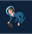 successful businessman in blue suit and astronaut vector image vector image