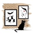 The girls portrait on a wall vector image vector image