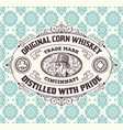 vintage frame and label for whiskey product you vector image vector image